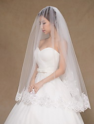 Wedding Veil Two-tier Fingertip Veils Lace Applique Edge Tulle Lace Ivory
