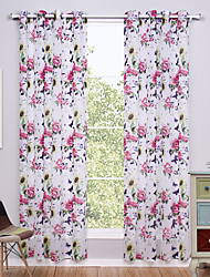 Two Panels European Floral / Botanical Multi-color Living Room Polyester Sheer Curtains Shades 140cm Per Panel