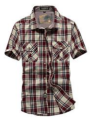 Men's Short Sleeve Shirt,Cotton Casual / Work / Formal Striped