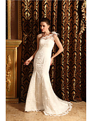 Trumpet / Mermaid Wedding Dress Chapel Train One Shoulder Lace / Satin with Flower