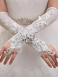 Elbow Length Fingerless Glove Elastic Satin Bridal Gloves Party/ Evening Gloves Spring Summer Fall Winter Sequins Rhinestone