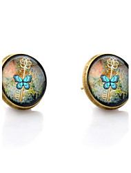Lureme® Vintage Jewelry Time Gem Series Key and Butterfly Antique Bronze Disc Stud Earrings for Women and Girl