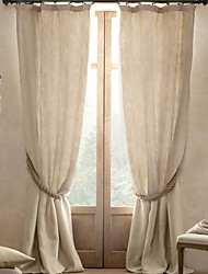Two Panels Modern Solid Living Room Linen Blackout Curtains Drapes