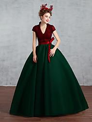 Vestido de Boda-Burdeos Corte Princesa Hasta el Suelo-Escote en V Algodón
