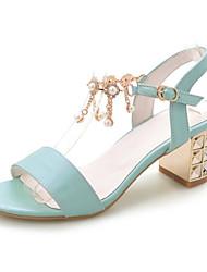 Zapatos de mujer-Tacón Robusto-Tacones-Sandalias-Boda / Vestido / Casual / Fiesta y Noche-Semicuero-Azul / Rosa / Beige