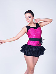 Kids' Dancewear Dresses Women's Children's Performance Polyester Lace Organza Sequined Lycra Ruffles Flower(s) Sequins Sleeveless Dropped