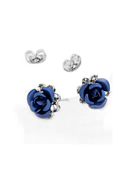 HKTC Blue Rose Flower Lover Stud Earrings 18k White Gold Plated Austrian Crystal Jewelry