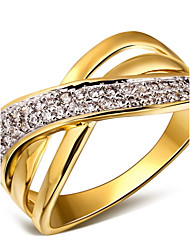 Statementringe Kubikzirkonia Kupfer Platiert vergoldet 18K Gold Weiß Gold/Weiß Schmuck Für Hochzeit Party Alltag Normal 1 Stück