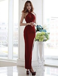 Women's Sexy Solid Bodycon Halter Maxi  Dress