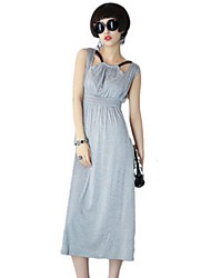 Women's Street chic Solid Sheath Dress,Halter Midi Polyester
