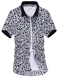 Fashion Men's Short Sleeve Floral Printing Beach Shirt Shirt,Cotton / Polyester Casual / Sport Print
