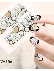 1pcs  Water Transfer Nail Art Stickers Clock Beautiful Snowman Flower Nail Art Design STZ156-160