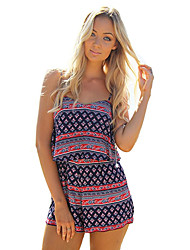 Women's Print Multi-color Jumpsuits,Casual / Day / Beach Strap Sleeveless