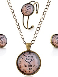 Lureme® Time Gem Series Simple Vintage Style Pocket watch Pendant Necklace Stud Earrings Bangle Jewelry Sets
