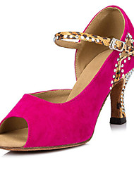 Non Customizable Women's Dance Shoes Flocking Flocking Latin / Salsa Sandals / Heels Flared Heel Performance Blue / Fuchsia