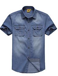 Men's Short Sleeve Shirt,Cotton Casual / Work / Formal / Sport Solid