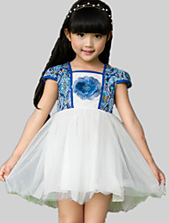 Vestido Chica de-Verano-Poliéster-Azul