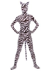 Unisex Zebra Print Full Body Suit Zentai with Ear and Tail