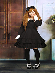 Steampunk®Cotton Black Ruffles Long Sleeves School Lolita Dress