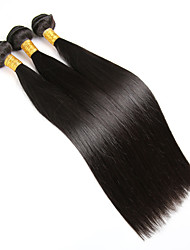 Echthaar Brasilianisches Haar Menschenhaar spinnt Glatt Haarverlängerungen 3 Stück Schwarz