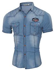 Мужской камуфляж Рубашка На каждый день,Хлопок,С короткими рукавами,Синий