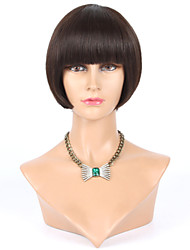 "8"" Short Bob Wig Human Hair Bob Wig With Thick Bangs Gluless With Baby Hair Around Short Bob Wigs For Black Women"
