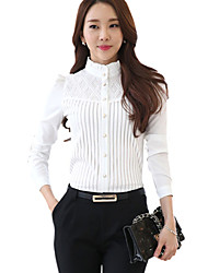 Women's Stand Collar Lace Patchwork Stripe Puff Sleeve Wild Slim Shirt