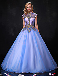 Formal Evening Dress Ball Gown Halter Floor-length Organza with Beading / Lace / Sequins