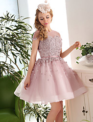 Cocktail Party Dress Ball Gown Jewel Knee-length Lace / Tulle with Appliques / Beading / Flower(s) / Lace