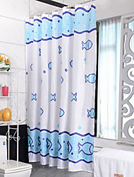 Seabed Fish Waterproof Polyester Fabric Shower Curtain 180X200