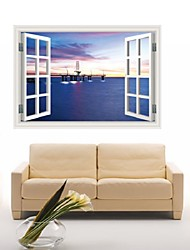 3D Sticker Windows Harbour Night Fake Windows Wall Sticker Living Room Backdrop Decoration Room Vinyl Art Mural