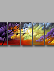 """Stretched (ready to hang) Hand-Painted Oil Painting 60""""x24"""" Canvas Wall Art Modern Abstract Trees Purple"""