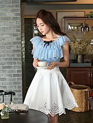 Damen Solide Niedlich Ausgehen T-shirt,Rundhalsausschnitt Sommer Ärmellos Blau Baumwolle / Polyester / Elasthan Dünn
