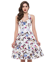 Women's Vintage Floral A Line Dress,Halter Knee-length Cotton