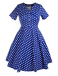Classic & Traditional Lolita Short Sleeve Medium Length Blue Cotton Lolita Dress
