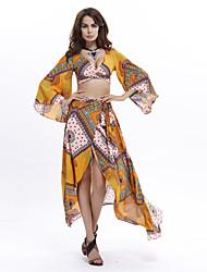 Robe Aux femmes Swing / Deux Pièces Sexy / Bohème,Imprimé V Profond Asymétrique Polyester