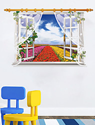 3D Window Scenery Wall Sticker Flowers Field Red Flower Yellower Flower Stickers