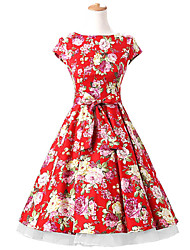50s Era Vintage Style Cap Sleeves Rockabilly Dress Cosplay Costume Red Floral (with Petticoat)