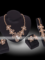 Lucky Doll Vintage 18K Gold Plated Imitation Pearl Rhinestone Necklace & Earrings & Bracelet & Ring Party Jewelry Sets