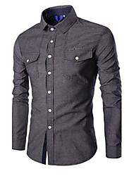 Men's Long Sleeve Shirt,Cotton Casual / Work / Formal / Sport Pure