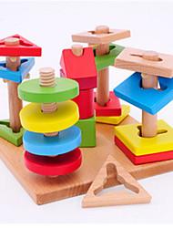 Children's Wooden Puzzle Toys Colorful Wisdom Plate Five Pillar Set of Building Block Geometry