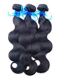 "3pcs / lot 300g Malásia barato extensões virgens cabelo preto natural onda do corpo cabelo tecer 8 ""-26"" venda quente."