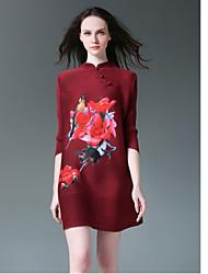 De las mujeres Corte Ancho Vestido Vintage / Simple Estampado Mini Escote Chino Poliéster