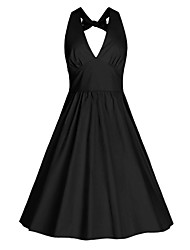 Women's Casual/Daily / Beach Vintage / Street chic A Line Dress,Solid Halter Knee-length Sleeveless