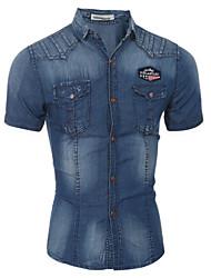 Men's Color Block Casual / Formal Shirt,Cotton Short Sleeve Blue