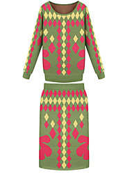 Women's Geometric Long Sleeve Sweater Pencil Skirt 2 Pieces Set