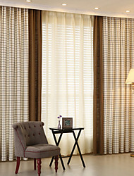 Two Panels Linen Joinnt Check  Curtain