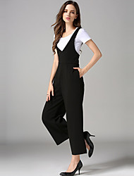 Women's Loose Wide Leg  Back jumpsuit Gallus Ninth Pants High Waist