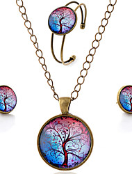 Lureme® Time Gem Series Simple Vintage Style Colorful Tree of Life Pendant Necklace Stud Earrings Bangle Jewelry Sets