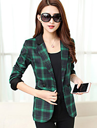 Women's Work Plus Size / Street chic Spring Blazer,Plaid Peaked Lapel Long Sleeve Red / Green Polyester Medium